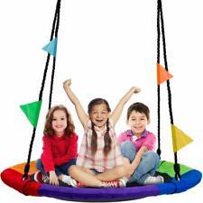 """Tree Swing 40"""" in Multi-Color Rainbow Kids Indoor/Outdoor Round Mat Saucer Swing"""