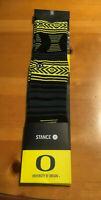 BRAND NEW $18 University of Oregon Ducks Stance Mazed Print Striped Socks Large