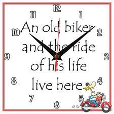 """Fait main """"un vieux biker"""" Nouveauté Fun cadeau horloge murale"""
