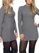 Pullover Minikleid Sweatpulli Long Sleeve Longpulli Rippstrick Stehkragen