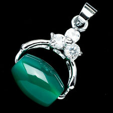 Chinese Emerald Green Jade Jadeite 18K White Gold Plated Wheel Pendant #003
