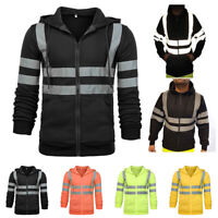 Hi-Viz Vis Men's High Visibility Jacket Hoodie Work Zip Hooded Sweatshirt Tops