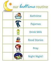 A5 Magnetic Children's Bedtime Routine Chart (Picture Poster Kids Bedroom Sleep)