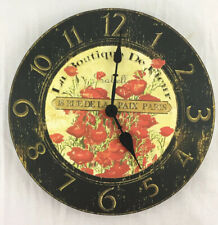 """Vintage French Kitchen Wall Clock Quartz Battery Beautiful Red Flowers 11.5"""""""