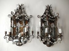 ~c 1900 French Mirror Sconces Crystal Spear and Stars~