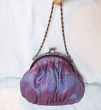 EXQUISITE NO 7 EVENING BAG PURPLES WITH A TONIC FINISH GUNMETAL CHAIN FRAME