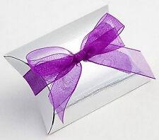 100 Silver Silk BUSTINA/cuscino favore favore Scatole Scatola Regalo