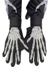 Skeleton Gloves Adults Black Halloween Fancy Dress Accessory