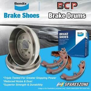 Rear Brake Drums + Bendix Brake Shoes for Toyota Hiace TRH201 TRH221 TRH223 2.7L