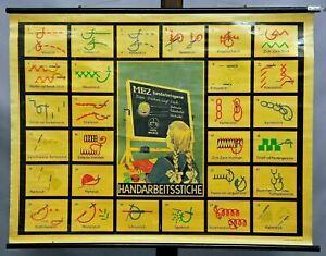 Schulwandkarte vintage Poster retro Rollkarte MEZ Handarbeit Garne Sticken Nähen