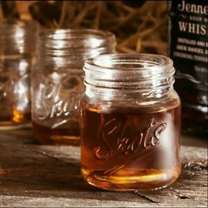 4 Pack 3 Ounce Mini Mason Jar Shot Glass Whiskey Bourbon Drink Party Glasses