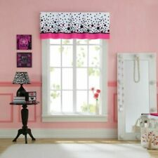"Dots It Window Valance 17x60"" Polka Dot Pink Black White Girl's Room"