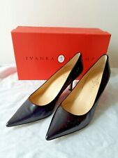 NEW Ivanka Trump Classic Black Indico Smooth Leather Pumps Shoes 7.5M
