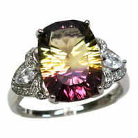 GORGEOUS 6 CT AMETRINE 925 STERLING SILVER RING SIZE 5-10