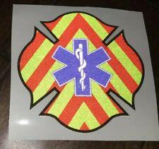 "ONE 4"" Star Of Life Chevron Maltese Firefighter Paramedic EMT EMS Decal Sticker"