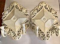 Vintage White Wall Double Candle Sconces Homco