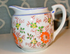 """2 3/4"""" Tall Vintage White Creamer/Small Pitcher Floral Design Maple Ware Japan"""