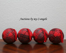 """S/4 Pottery Barn 5"""" LARGE PLAID FABRIC BALL Christmas Ornaments RED SET OF 4 NEW"""