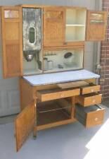 Oak Hoosier SELLERS Cabinet w Flour Bin, 8pc. Glassware Set, Slag Glass Doors