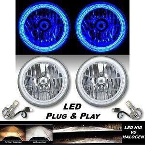 """7"""" Blue SMD LED Halo Angel Eye Crystal Clear H4 Headlight & 6500k LED Bulb Pair"""