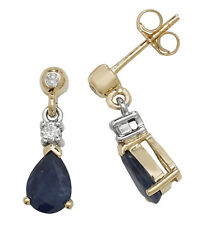 Sapphire and Diamond Earrings Yellow Gold Drop Appraisal Certificate