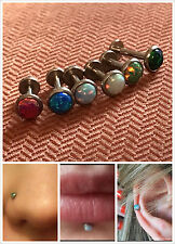316L Steel 16g Opal Top Stud Ring Bar Lip Ear Earring Nose Tragus Helix Piercing