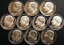 1980~1989 S Roosevelt Dime Gem Proof Run 10 Coin Decade Set US Mint Lot.