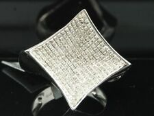 Diamond Curved Pinky Ring Mens .925 Sterling Silver Round Pave Design 1 Tcw.