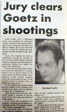 1987 newspaper NY SUBWAY VIGILANTE Bernhard Goetz TRIAL - He is found NOT GUILTY