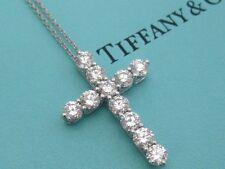 TIFFANY & CO. DIAMOND CROSS NECKLACE PLATINUM LARGE MODEL 1.71 TCW
