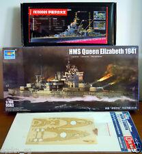 1/700 Trumpeter HMS Queen Elizabeth '41 + Flyhawk Super Detail Set + Wood Deck