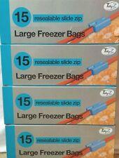 60  LARGE SLIDE ZIP RESEALABLE/REUSABLE FREEZER/FOOD BAGS