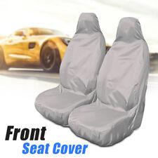 2pcs Universal Car Nylon Heavy Duty Waterproof Grey Front Seat Covers Protectors