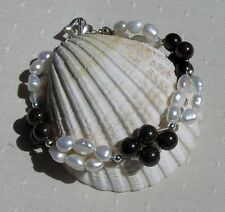 "White Freshwater Pearl & Red Garnet Gemstone Crystal Bracelet ""Regal Sundae"""