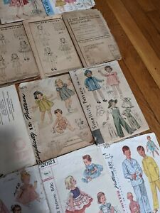 Lot of 20 doll & children's sewing patterns vintage  30's 40's 50's 60's & 70's