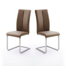 Schwingstuhl 4er Set Paulo 2 Esszimmerstuhl Stuhl in cappuccino und Edelstahl