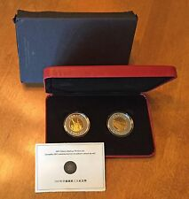 2005 Chinese Railway Workers Set 2-Coin Set Silver Proof + Gold Plated Box & COA