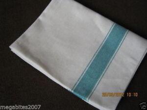 10 Heavy Duty Good Quality Kitchen Tea Towels, Green Herringbone 110gm