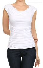 Women Shirts Blouses Cap Sleeve Solid Front Ruched Cowl Neck Top S M L