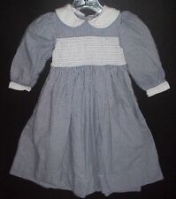 STRASBURG MODEST SMOCKED DRESS BLUE & WHITE  PETER PAN COLLAR DRESS SIZE 4
