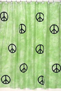 GREEN PEACE SIGN TIE DYE GIRL KID BATH FABRIC SHOWER CURTAIN SWEET JOJO DESIGNS