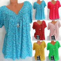 Plus Size Women Summer Loose T-Shirt Tops Print Short Sleeve V-Neck Tee Blouse