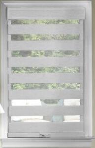 Gray Cordless Window Roller Shades Celestial Sheer Double-Layered Roman Shade