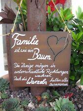 """Spruchtafel - Edel-Rost -Tafel - Garten - Schild - """"Familie ist wie ein .."""" (2)"""