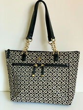 NEW! TOMMY HILFIGER BLACK NATURAL GOLD CHAIN SHOPPER SATCHEL TOTE BAG PURSE $99