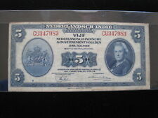 NETHERLANDS INDIES 5 GULDEN 1943 P113 INDONESIA 83# CURRENCY BANKNOTE MONEY