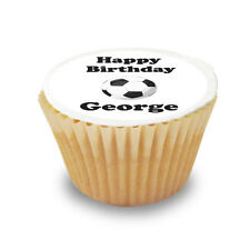 12 x Personalised Football / Soccer Pre Cut Cupcake Toppers Sugar Icing Sheet