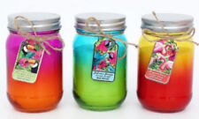 (Set of 3) Tropical themed two-tone Glass Jar Candles - (3 fragrances)