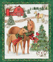 Christmas Holiday Quilting Fabric Panel Two Horses New Cotton
