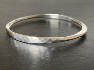 Genuine 925 Sterling Silver Bangle Bracelet Slip On Hammered Solid 65 mm